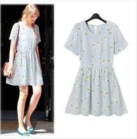 2014 summer new European and American women's round neck short sleeve daisy print dress