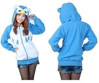 Animal Cute Blue Owl Hoody Cartoon Animal Hoodie with Ears Hooded Hoody Coat Jacket Warm Polar Fleece,All Size S M L XL