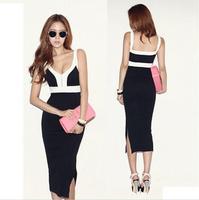 2014 Newest Elegant Summer Sleeveless V-neck Zipper Party Pencil Dress LQ4646