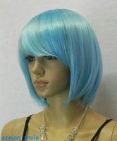 New Light Blue Straight Short Cosplay women Wig