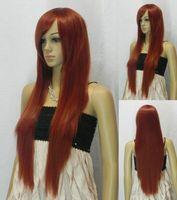 Burgundy Long Straight Cosplay women Wig