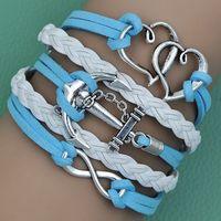 Hot sale 2014 NEW fashion blue or pink Vintage rope anchor  leather bracelet charm bracelet of infinity heart