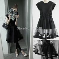2014 summer women short sleeve elastic waist cotton patchwork mesh ball gown dress black princess ruffles dress free shipping