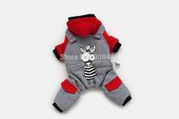 2014 New Arrived Zebra Pattern Dog Winter Cotton Clothing Pet Four Legs Suit Teddy Pomeranian Clothes Cool Desgin