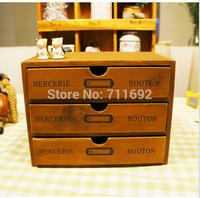 2014 new arrive handmade Retro Zakka vintage wooden drawers wood storage cabinet