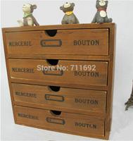 handmade Retro Zakka vintage wooden drawers wood storage cabinet solid wood jewelry box storage cabinet finishing storage box