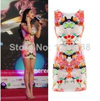 summer dress 2014 New Womens Fashion Flower Print Sleeveless Retro Sexy Chiffon Dresses