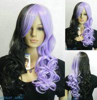 New Purple + Black Mix Long Wavy Cosplay women Wig