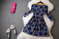 2014 New Casual Animal Women Dress Blending Vintage Tiger Head Print Fashion Queen Vestidos Elegant Evening Dresses Bestselling
