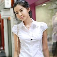 Women slim hubble-bubble sweet sleeve blouse fashion short-sleeved t office cotton slim fitting white shirt blouse top S-XXL
