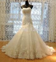 Free Shopping!2014 Luxurious Croset Bodice Lace Top Quality Real Sample Mermaid Designer Wedding Dress