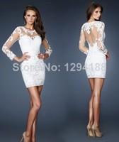 Innovative Design Wedding Dress White Sheath Long Sleeve Zipper Lace Mini-Length short  wedding dresses