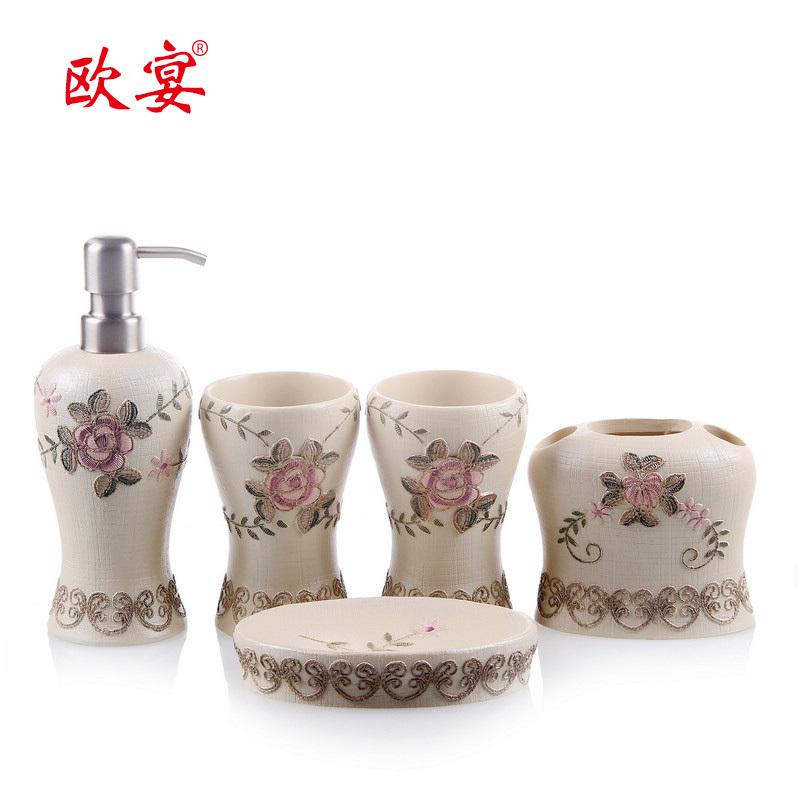 Five pieces set of bathroom resin bathroom set bathroom toiletries kit wedding gifts bathroom(China (Mainland))
