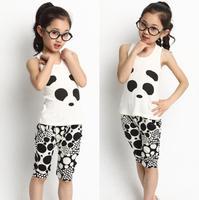 Children's clothing male female child spring 2014 summer 100% cotton baby vest knee length trousers child set