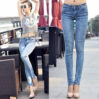 High Quality 2014 fashion woman jeans harem denim pencil pants Woman Tight Pencil Jeans Straight Pants Trousers Woman Jeans