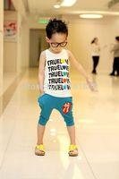 2014 place of production male child 100% cotton summer lisper set vest knee-length pants set free shopping