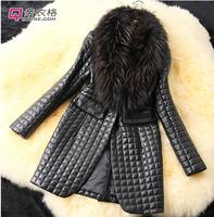 2014  Winter Leather Jacket Raccoon Fur Collar Sheep Skin Leather Jacket Simulation Piga Cotton Ladies Long Coat  S-3XL PJZ026
