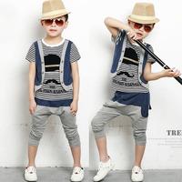 Children's clothing 2014 summer male child stripe faux two piece set harem pants boy set