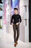 2014 new style male pure cotton long-sleeve shirt fashion shirt M-XXL free shipping with tracking number