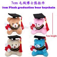 New 24pcs/Lot  H=7cmTeddy Bear Graduation Bear Plush Joint Doctor Bear Pendants Craft Doll Student Stripes,4color To Choose