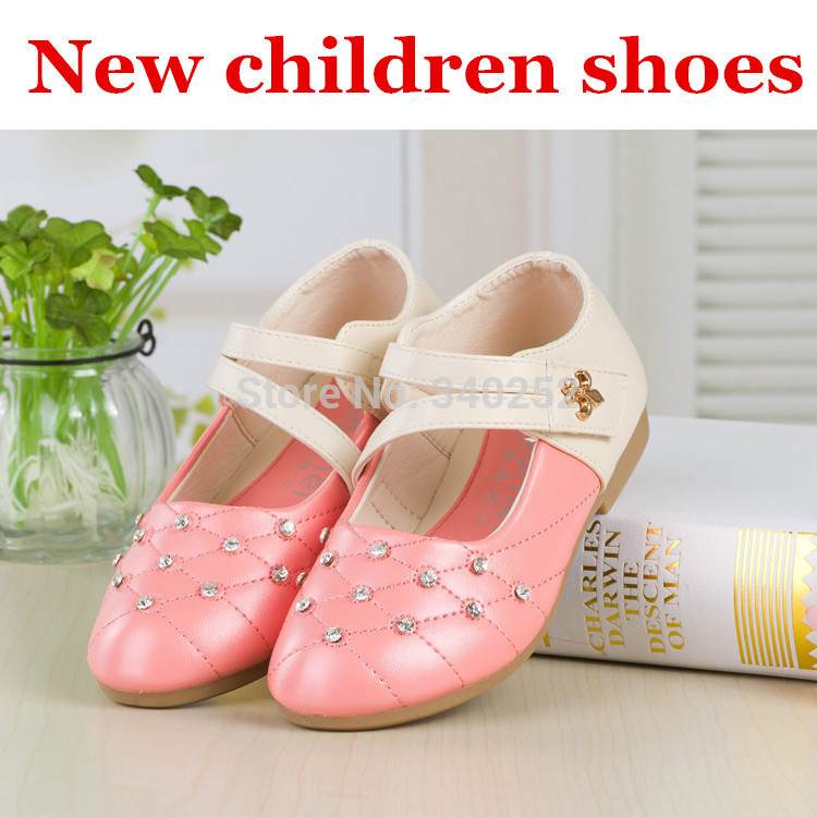 New 2014 Autumn Cute Shining Bling Crystal Design Children Shoes Kids Girls Sneakers Princess Shoes Pink(China (Mainland))