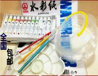 Watercolor suit (Water Color Paints+Brush + water paper + palette + washing pen barrels) 12 color=USD15
