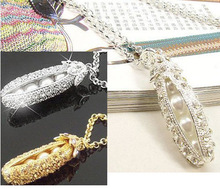 2014Moveable Long Sparkling Pearl Pea Pendant Full Zircons Inlayed Necklace Jewelry For Women(China (Mainland))