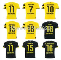Borussia Dortmund Soccer Jersey 14 15 Top Thai Quality HOME YELLOW AWAY BLACK REUS Gundogan LEWANDOWSKI BVB uefa Football Shirt