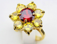 wholesale hot selling ring red Yellow CZ 14K plate Gold Ring Size US 7 or 8