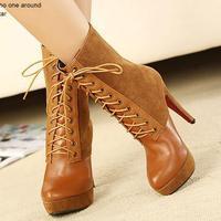 Fashion Women Patchwork Mid-calf Boot Lace-up High Heel Feminine boot Autumn/Winter Botas Thin Heel Shose S090