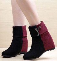 2014 spring and autumn fashion tassel/metal decoration colorant match slip-on Wedges Platforms ankle boots for women