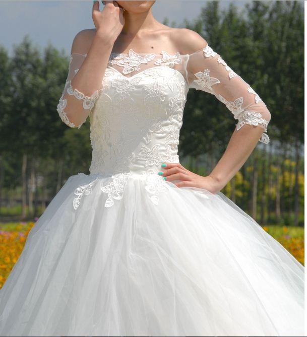 ويل wowmen الزفاف فستان الزفاف الأبيض العاجي الفاخرة الأنيقة الكلمة-- طول مربع الكتف قطار المحكمة ثوب الكرة اللباس الرسمي