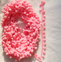 "5 yards cute PINK color PomPom fringe trim draper ball Accessories sew 0.8"" ball"