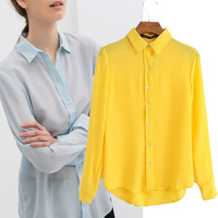 2014 Autumn summer new women blouse Free Shipping candy-colored long-sleeved shirt loose casual solid color chiffon shirt