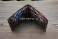 Men's Bifold Wallet Leather Wallets Rustic Vintage Design Card Holder Case Billfold Women Short Wallet Birthday Gifts-R024-3