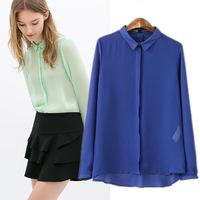 Free Shipping E-packet USA 2014 summer new women clothing European small candy-colored casual shirt chiffon blusas femininas
