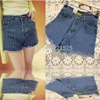 Hot Sale New 2014 High Waist Shorts Women Fashion Strip Blue Shorts Women Overall Denim Jeans Shorts Women Shorts Pants