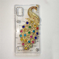 For LG Optimus L9 P760 P769 Bling Crystal rhinestones Colorful Peacock Cover,PC skin , free shipping