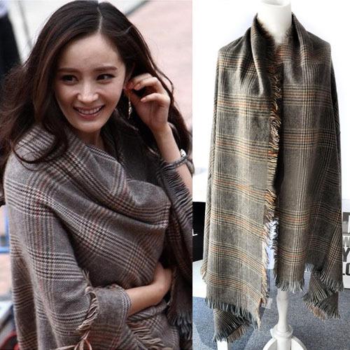 ZA 2014 winter thick warm plaid cashmere scarf Woman's scarf oversized shawl free shipping(China (Mainland))