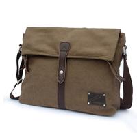 Canvas shoulder messenger man horizontal vintage casual bag