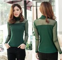 2014 New Women Autumn Plus Size Clothing Slim Female Long-sleeve T-shirt Lace Top Gauze Shirt Atacado Roupas Femininas