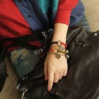 S73 vintage leather round hemp rope  bracelet leather bracelet jewelry charm bracelet women bracelet