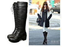New arrival!autumn and winter women's boots black and white thigh high boots shoeslace thick heel winter shoes  LW171