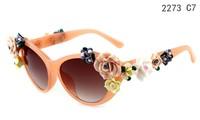 2014 New Fashion Women Brand Designer Glasses With Flowers Retro Summer Beach Goggle oculos gafas de sol Flower Sunglasses
