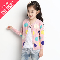 Child sweater thin spring and autumn female child sweater outerwear 2014 autumn female big boy dot cardigan top