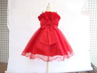 2014 new Girls Dress Princess dress children's wear Party veil Big bow girl wedding flower Baby girls dress  red