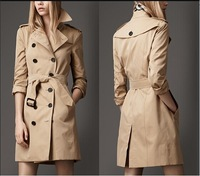 Hot New 2014 Women Fashion Brand Designer Long Double-breasted Plaid Lining Spring/Autumn Trench Coat/Outerwear M-XXL