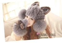 Free Shipping 2014 Han version of the new Orecchiette ovo ball knitted hat wool hat female hat wholesale