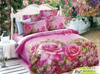 good quality Fresh peoy style,3d bed linen bedding set 4pcs cotton queen size,comforter set /duvet cover/ bedclothes/bed line