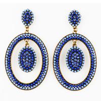 Luxury Topaz Big Large Rhinestone Retro Ethnic Party Women Dangle Earring. Unique Vintage Statement Fashion Jewelry Accessories